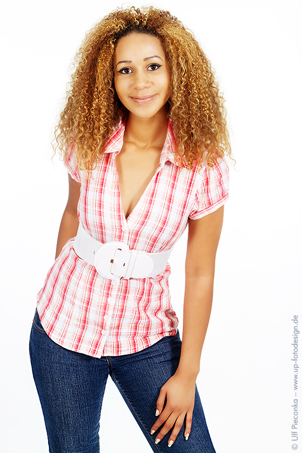 Fashion model with jeans and blouse